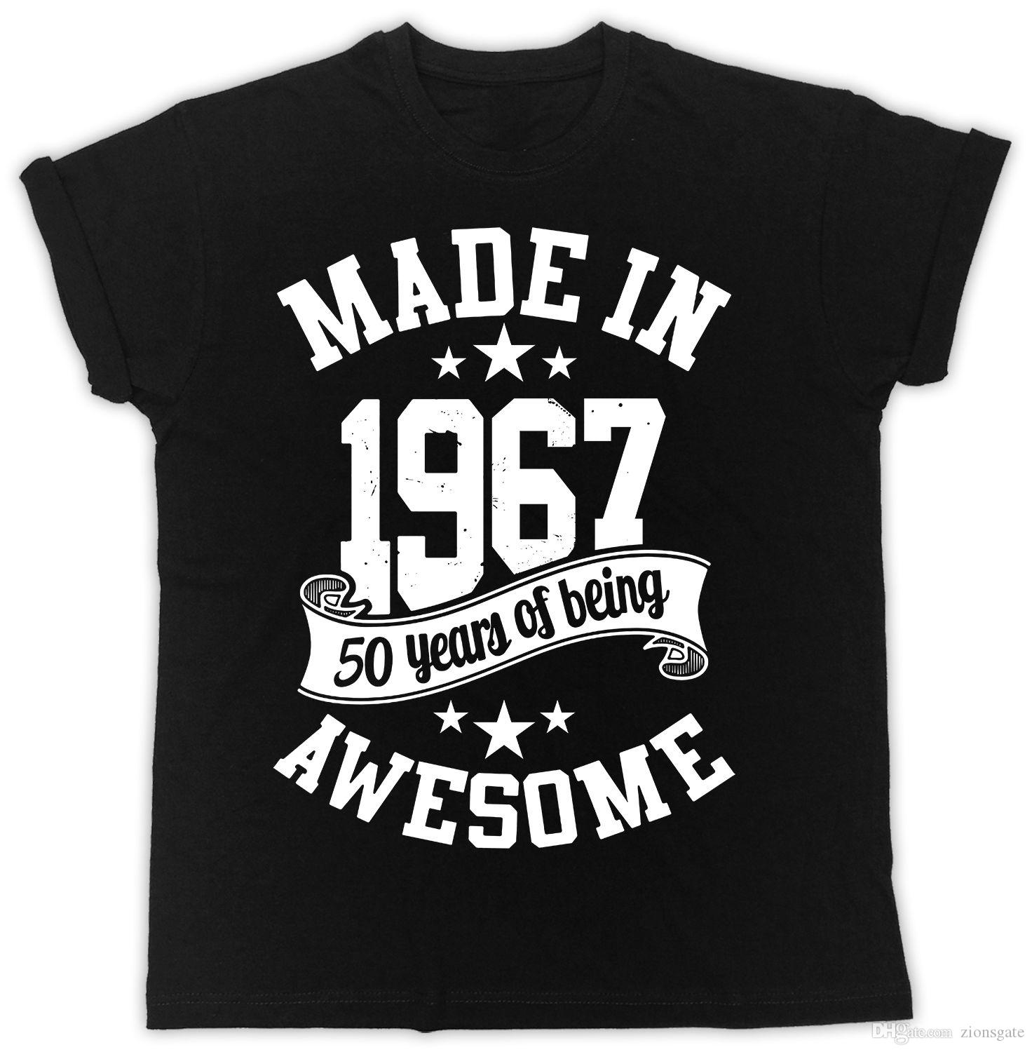 MADE IN 1967 50TH BIRTHDAY PRESENT IDEAL GIFT UNISEX BLACK T SHIRT