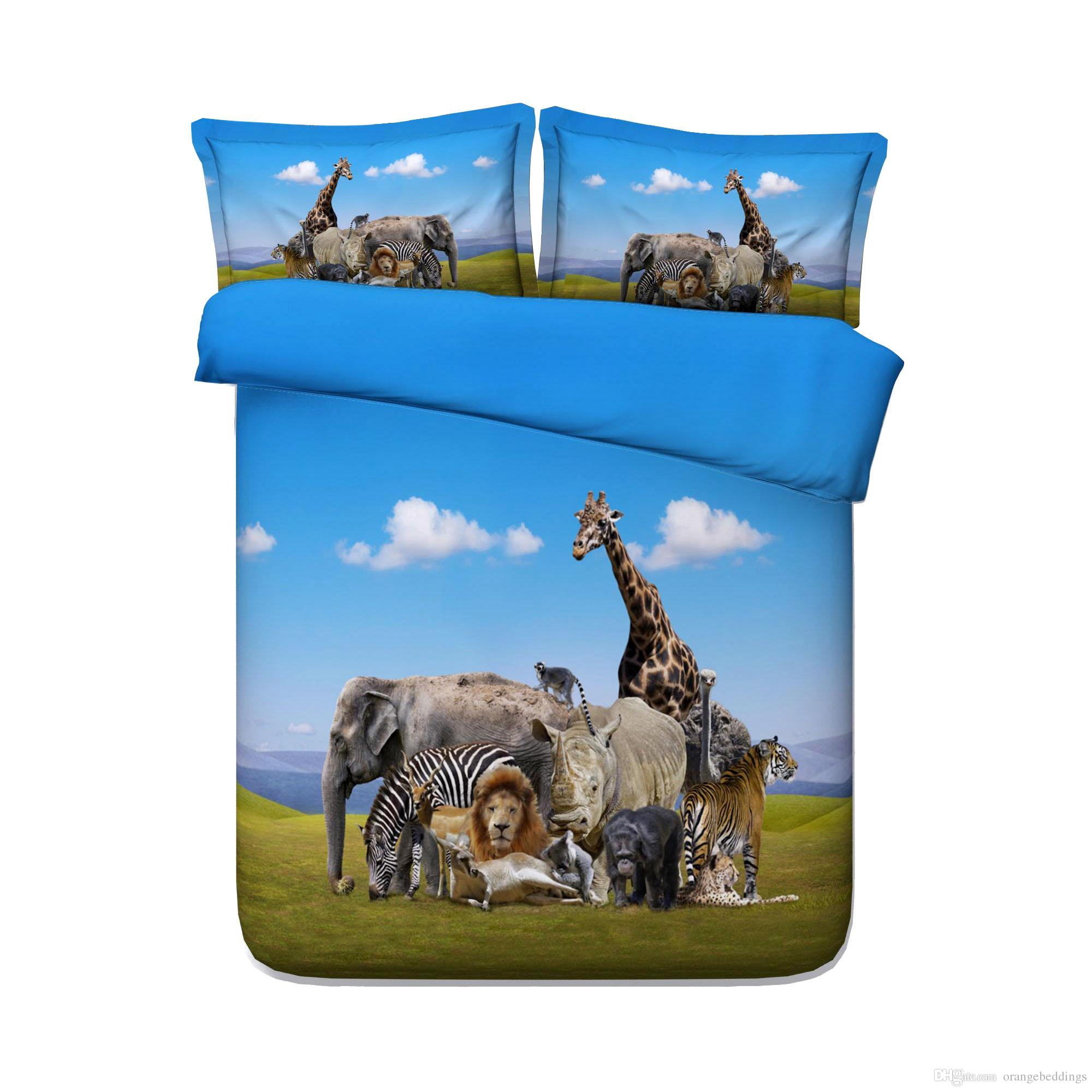 Animal Zoo Kids Boys Duvet Cover Set Giraffes Girls 3 Piece Bedding Set With 2 Pillow Shams Animal Bear Zebra Elephant Duck Tiger Lion