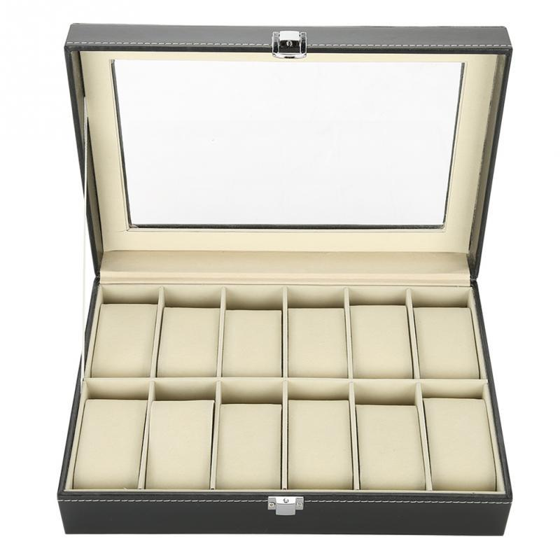 12 Grids PU Leather Watch Display Case Storage Box Organizer Watch Jewelry Display Box With Dust-proof Clear Glass Cover
