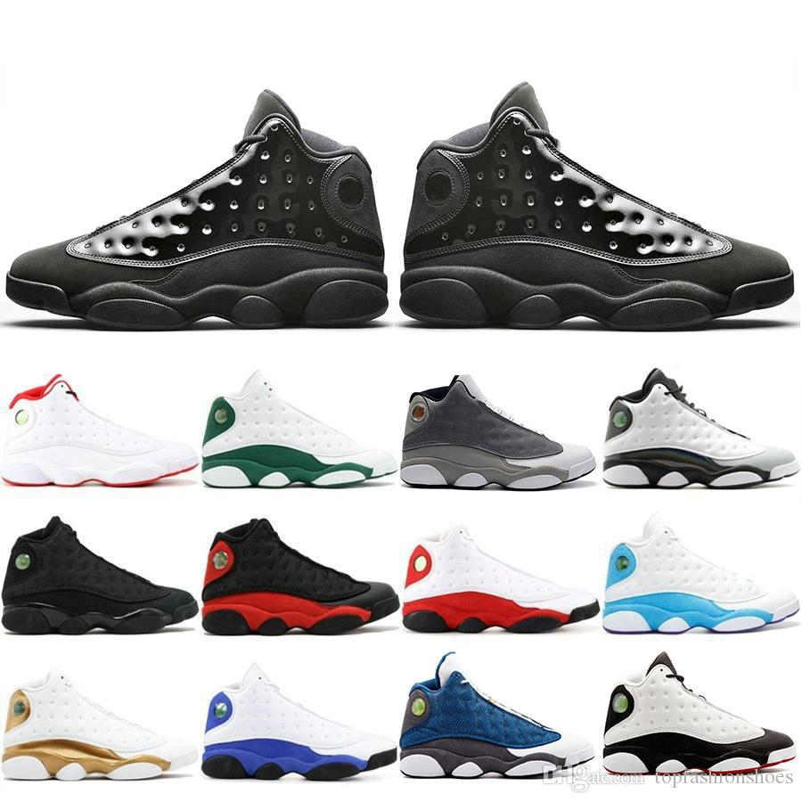 Newest 2019 13 13s Cap And Gown Atmosphere Grey For Men Phantom Basketball Shoes Flint DMP Black Cat Mens Trainers Sneakers US 7-13