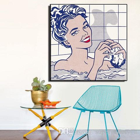 Roy Lichtenstein Woman in Bath Giclee Canvas Print Paintings Wall Art On Canvas High Quality Home Decor Multi Sizes /Frame Options berRy02