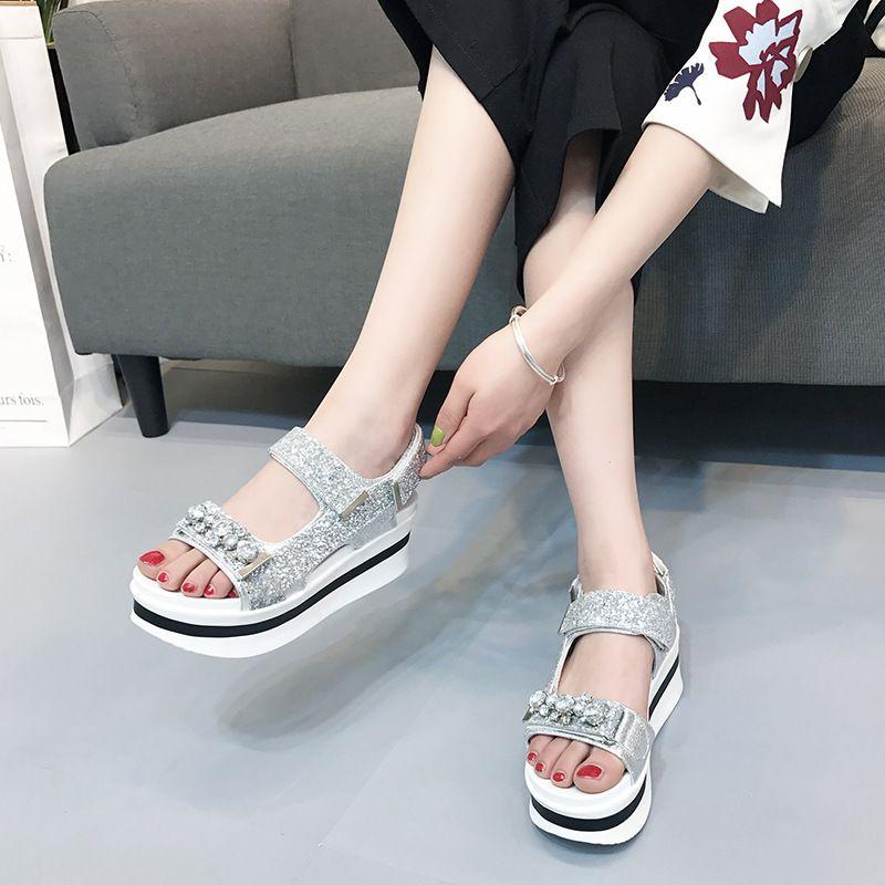 2018 Summer Sequeins Fashion Silver Glitter Sweet Girl Platform Shoe Women  Bling Sandal Youth Lady Beach Sandal Crystal Girls Sandals White Sandals  From ... 2e3cd0579fb7