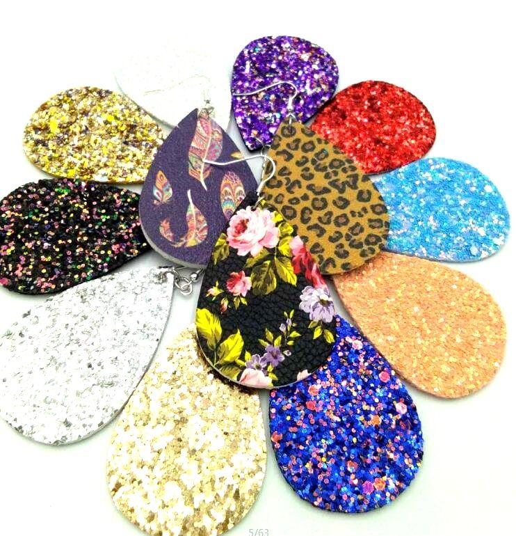 4345d29230169 New Hot Light Drop Earrings Wholesale Gold Silver Classic Color Pu Leather  Water Drop Sequin Big Teardrop Earrings Iron Women's Jewelry