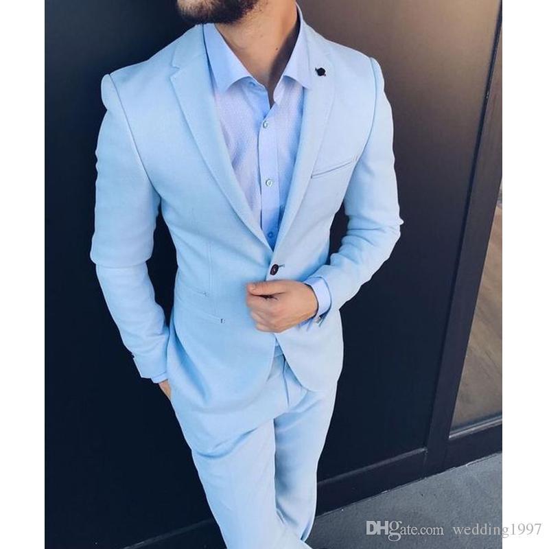 f943d31158 Tute da uomo bicolori per smoking da smoking 2019 Pantaloni da uomo azzurri  leggeri slim fit Tuta da uomo su misura