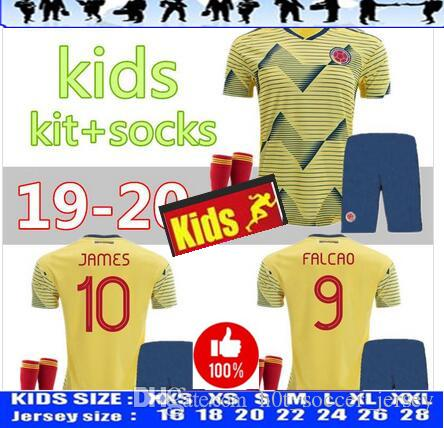cbc499c56 2019 2019 Jersey Copa América Colombia Home Kids Kit +Socks 19 20 Child  10  JAMES Football Shirts Home Boy Soccer Kit 2019 Shirt+Pants From ...