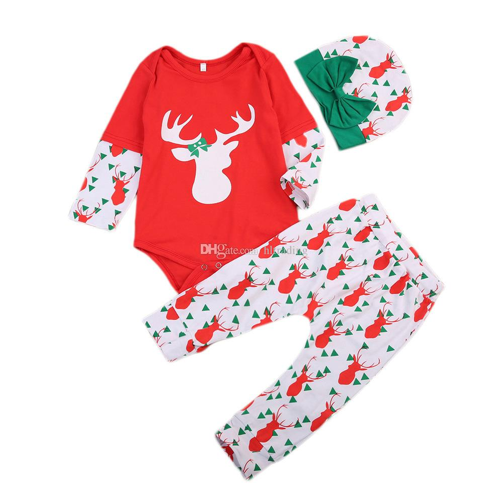 Christmas Baby Clothing Sets Children Reindee Jumpsuits + bowknot Hat + Christmas tree printed trousers Kids Xmas Rompers Climbing suit M262