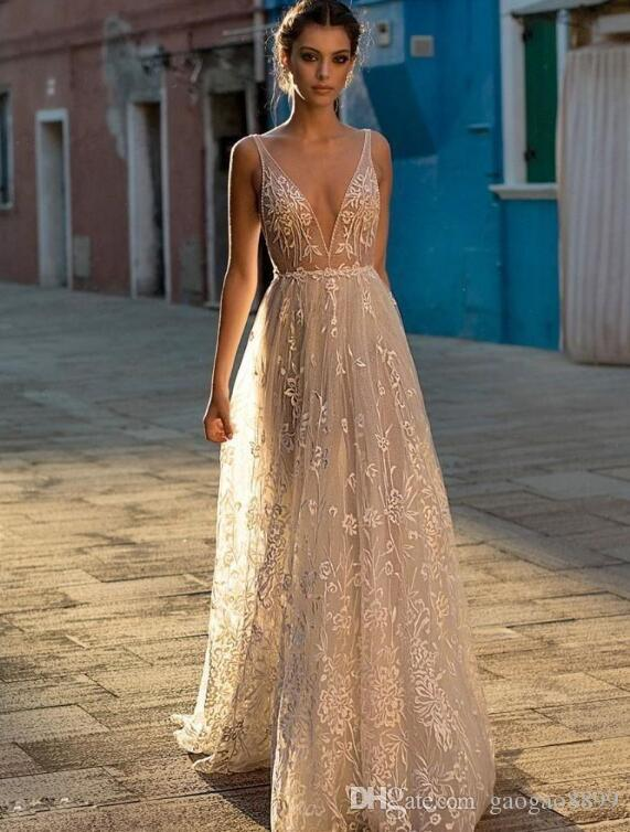 03dc96e9bebc Gali Karten Cheap Sell 2019 A Line Boho Wedding Dresses Bridal Gowns Sexy  Bohemia Deep V Neck Lace Appliqued Backless Tulle Floor Length Wedding  Dresses ...