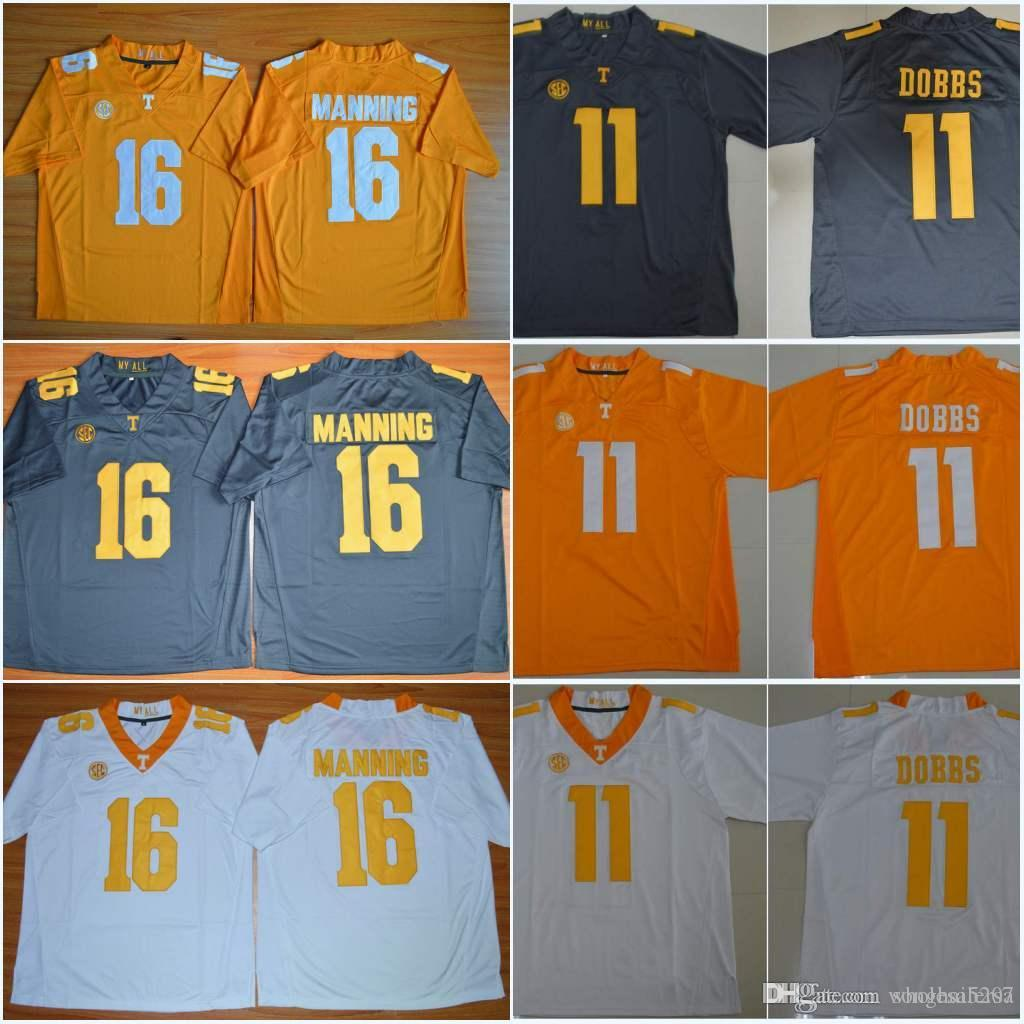 hot sale online 47641 4f4b6 2016 New Tennessee Volunteers 16 Peyton Manning 11 Joshua Dobbs College  Football Stitched Jerseys Orange Grey White Color Free Drop Shipping
