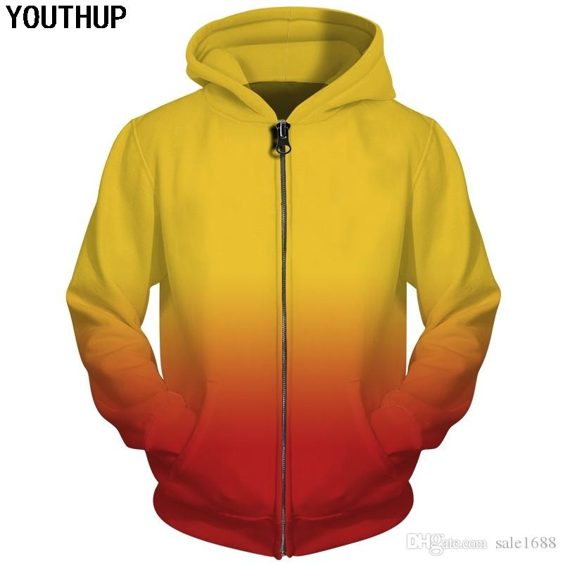 31496d6794c3 2019 Autumn Funny 3d Hoodies Men Gradient Solid Color Hoodies Zipper ...
