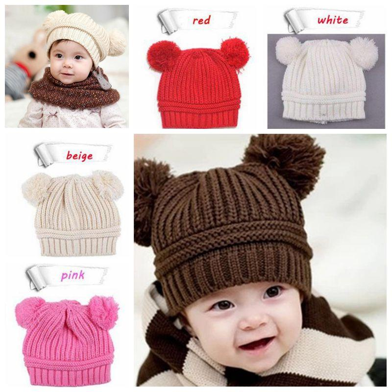 385d698f07d 2019 Infant Baby Unisex Double Bobbles Beanies Knitted Ribbed Hats Children  Kids Autumn Winter Warm Solid Color Caps From The one