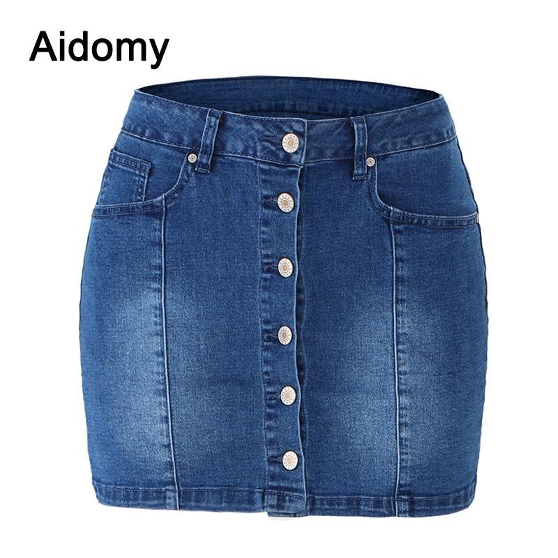 5327e9ca90 Compre Falda De Mezclilla Ocasional Botones Delanteros De Las Mujeres Mini  Faldas 2019 Nueva Streetwear Alta Espera Azul Jean Falda Lápiz Mujer Jupe  Jean A ...