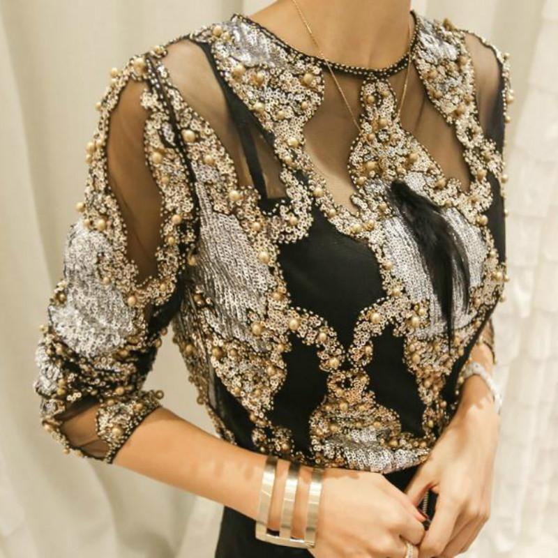 0c078a3a9cb Mulheres de luxo de Cristal Lantejoulas Bordado Blusa de Rendas Grânulos  Pesados Geométricos Camisas Sexy Blusas Camisa 2018 Clubes de Festa ...