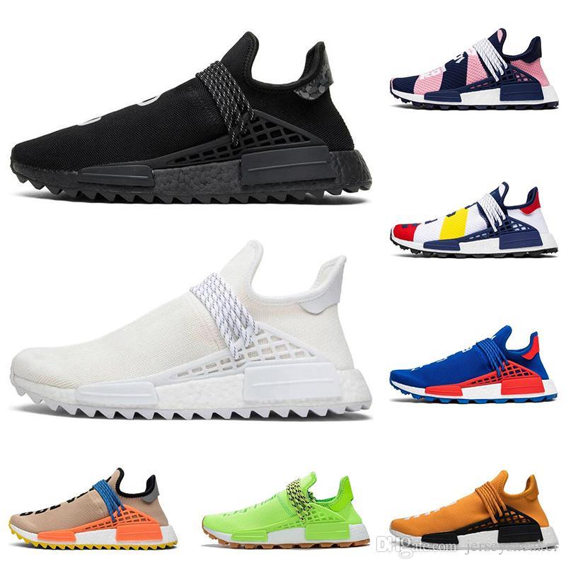 adidas Günstige Human Race Trail Laufschuhe Männer Frauen Pharrell Williams HU Runner Gelb Schwarz Weiß Rot Grün Grau blau Sport Sneaker 36 45