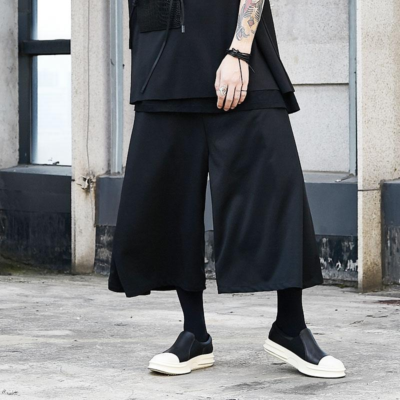 cf36bd8e0 Pantalón negro de gran tamaño para hombres Pantalón de pierna ancha para  hombre Ropa de correr Hip hop Punk Gótico Suelta Falda Casual Pantalones ...