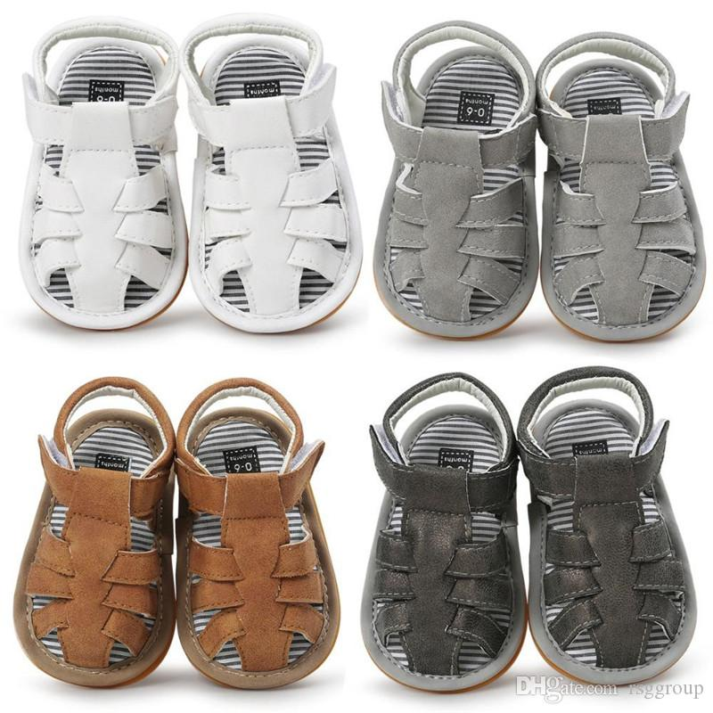 INS Baby Boy Summer Shoes Sandals Antiskid Beach First Walker Anti Slip PU Leather Soft Sole Jongen Sandalen Kids Toddlers