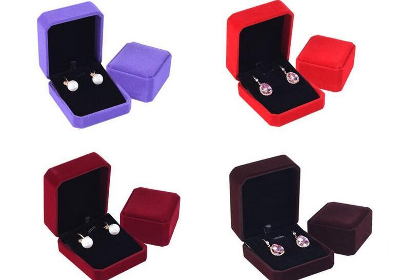 100pcs/lot Classic Velvet Earring Pendant Necklace Box 7x8.2x4cm Wedding Jewelry Packaging Storage Case Gift Boxes 10 Colors