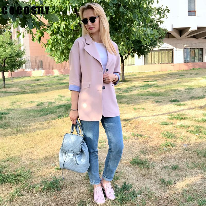 e457b05d3a5 2019 Double Breasted Blazer Women Suit Jacket Female Medium Long Female Coat  Blaser Feminino Casual Coat Female Autumn Blazers Y18110701 From  Zhengrui06