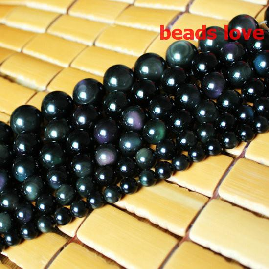 "Fashion Jewelry Beads Pick Size 4.6.8 .10MM Natural Genuine Flash Rainbow Obsidian Stone Round Loose Beads 15""/Strand Free Shipping-F00196"