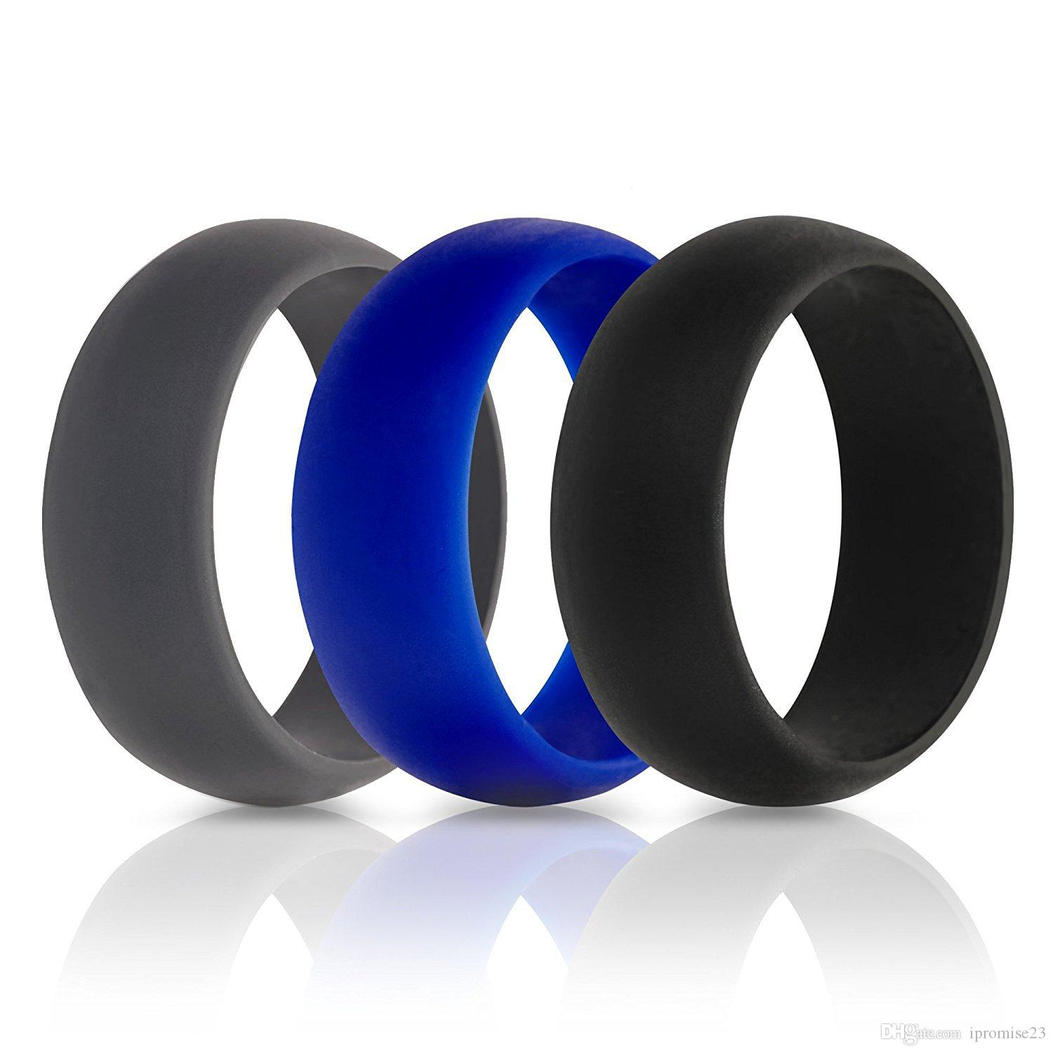 3pcs 8mm wide glossy men's e-cigarette silicone rings 3 color pack silicone Wedding Bands ring solid color