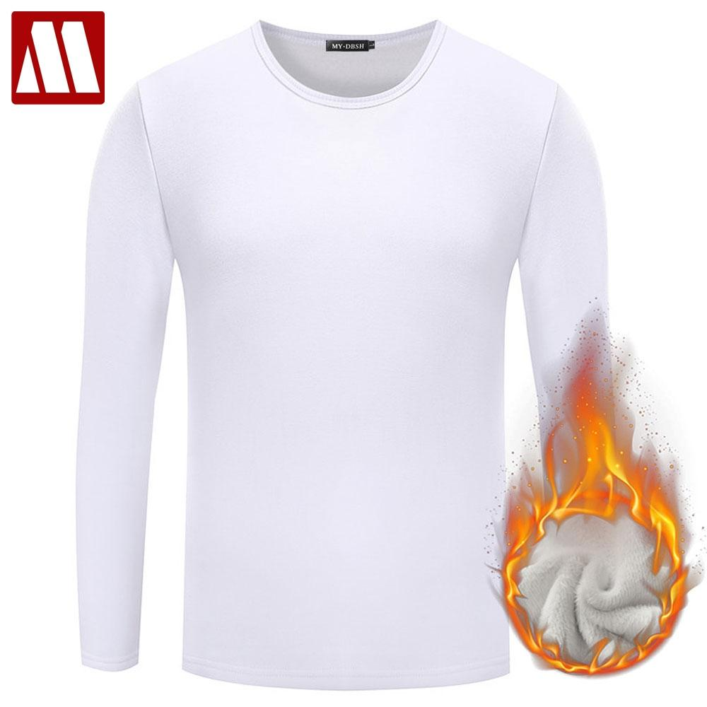 Men Casual Cotton T shirt 2018 Fashion Slim Fit Thermal Underwear Long Sleeve Solid T-Shirts Mens Winter Fleece T-shirt Male Tee
