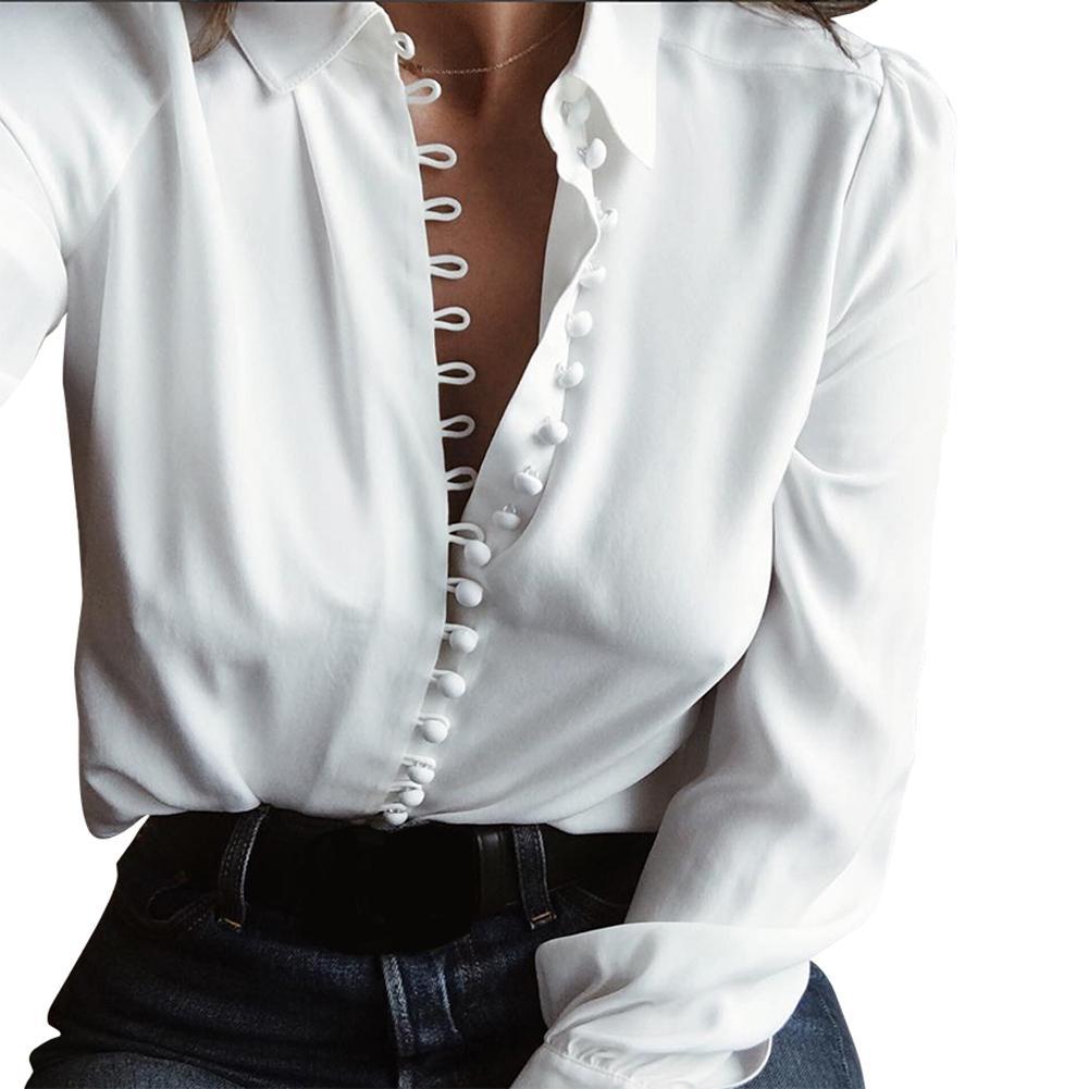 e5f2d0b79d Compre 2019 Nuevo Camisa De Manga Larga Blanca Mujer Camisa Elegante Sólido  Cuello De Cobertura Botón Camisa De La Oficina Delantera Blusa Informal  Tops ...