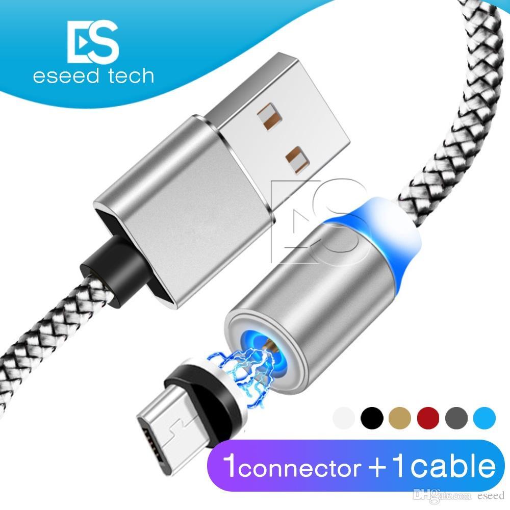f29cc026e92 Adaptador De Celular 3 En 1 Cable De Cargador De Succión Magnético LED  Nylon Cable De Imán De Metal Más Resistente 1M Android Micro USB Tipo C  Cable Para ...