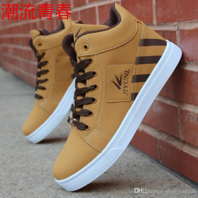 4a951c5ec846 Mens Trainers High Tops Shoes For Men Casual Shoes Leather Boots Lace Up  USA Street Style Men Skate Board Chaussure Homme  129506 Dress Shoes For Men  Suede ...