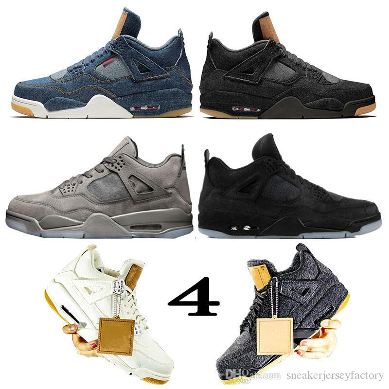 premium selection ae5d9 39ac7 2019 New Bred Denim LVS Jeans Flight White Blue Black Travis Scott KAWS 4s  Mens Basketball Shoes OFF Oilers Women Sneakers Designer Shoes 36 47 From  ...