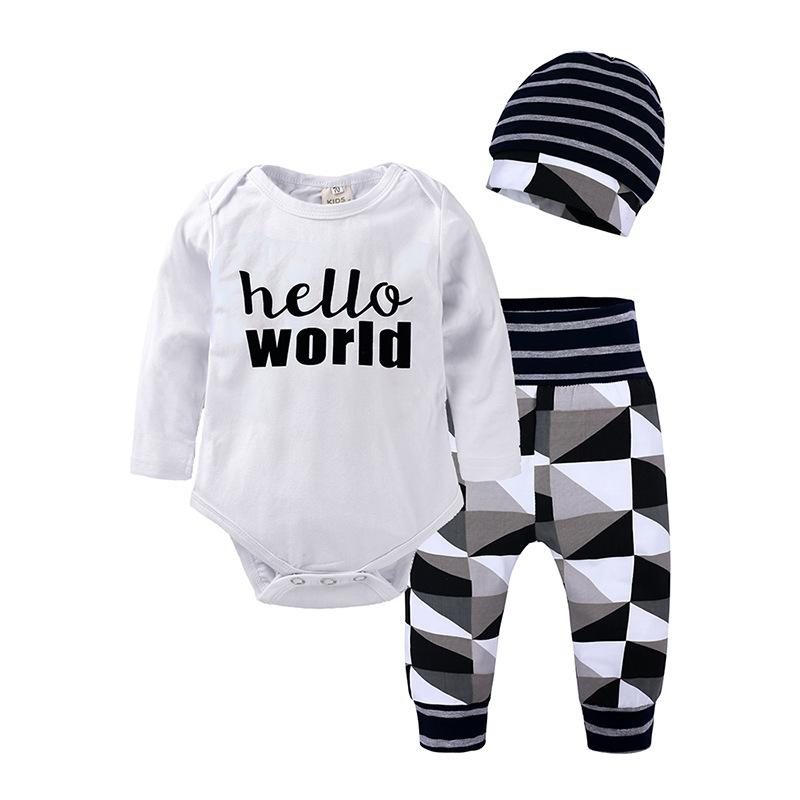 5908546d249 2019 Infant Newborn Baby Girl Boy Clothing Long Sleeve Romper Pants Hat  Autumn Outfit Set Clothes Baby Girls 0 24M From Babyhouse2019, $6.04 |  DHgate.Com