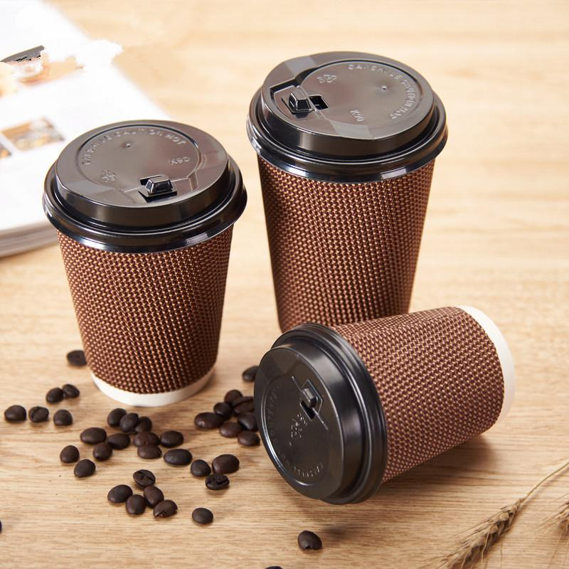500pcs Brown party favor disposable coffee cup thick anti-scalding paper  cup milk tea hot drink package cups with lid wholesale