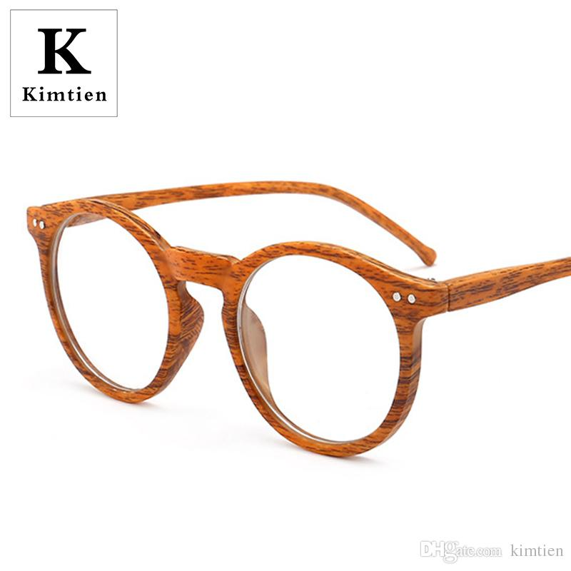 85d418977ea37 2019 Wood Grain Round Vintage Gold Metal Frame Eyeglasses Mens Womens Sun Glasses  Retro Polygon Optical Lens Eyewear Nerd Clear Lens Glasses From Kimtien