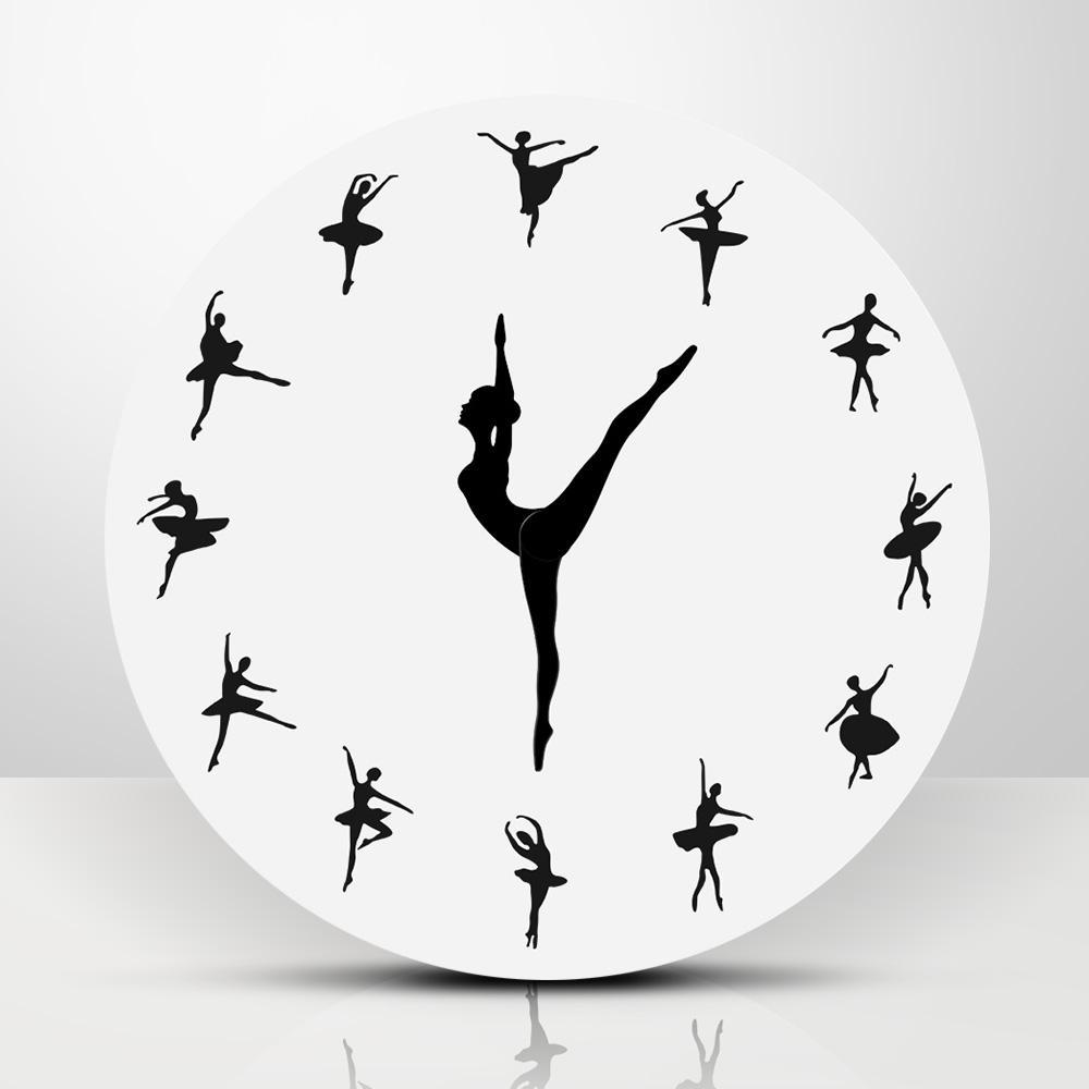 12dd9a843054 Compre Bailarina De Ballet Diseño Moderno Reloj De Pared Bailarina  Encantadora Reloj De Pared 3D Decoración Infantil Moderna Regalo Único Para  Bailarina A ...