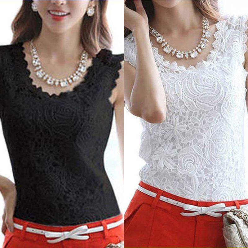 fa05e03f8ade91 2019 Women's Fashion Blouse Casual Summer Cotton Lace Blouse Sleeveless  Elegant Vintage Shirt White Crochet Top 0.5
