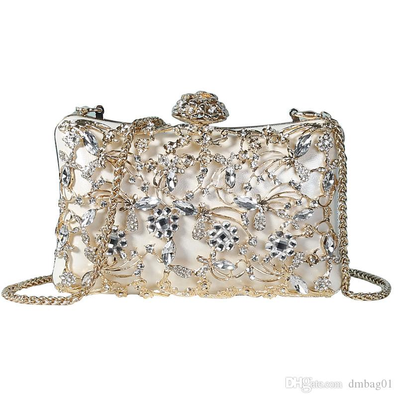 Pink sugao crystal Luxury evening bag Bling party purse top diamond Boutique Gold silver women wedding Day clutch shoulder bag crossbody bag