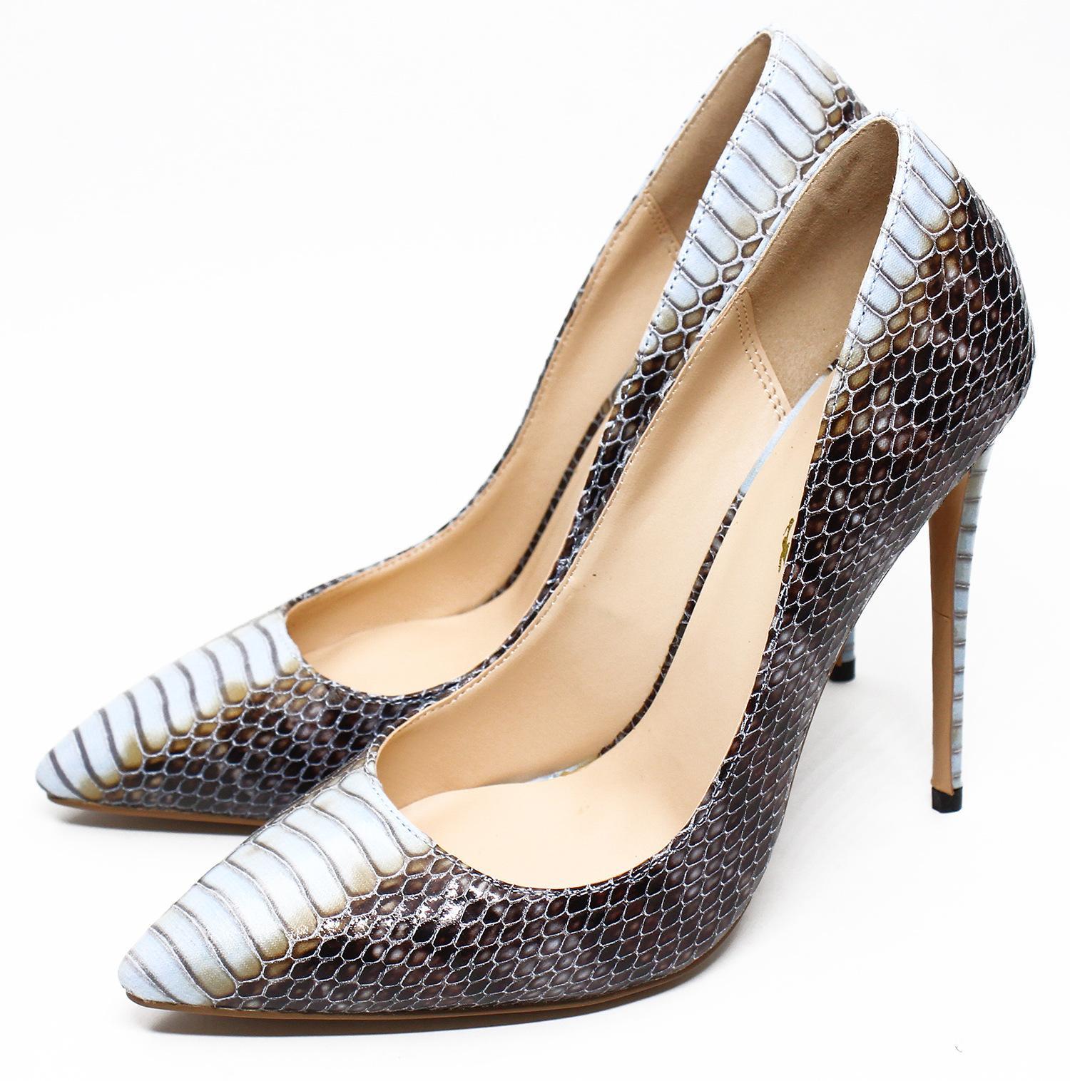 7b22a31e13b44b Acheter Chaussures De Marque De Designer De Luxe Pointues Bouche  Superficielle Peau De Serpent 12cm Ultra Bas Talon Rouge Chaussures  Habillées De $49.3 Du ...