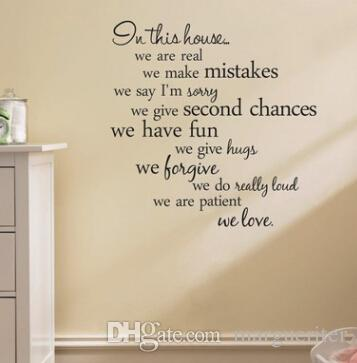 In This House Quote Wall Sticker English Alphabet Wall Stickers Home
