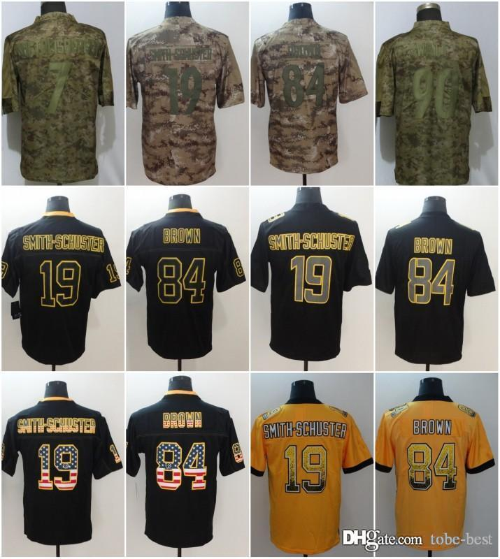 new concept 59b91 e492b Pittsburgh 19 JuJu Smith-Schuster Jerseys 90 TJ Watt 84 Antonio Brown  Steelers 2018 Salute to Service USA Flag Lights out Black Rush Drift