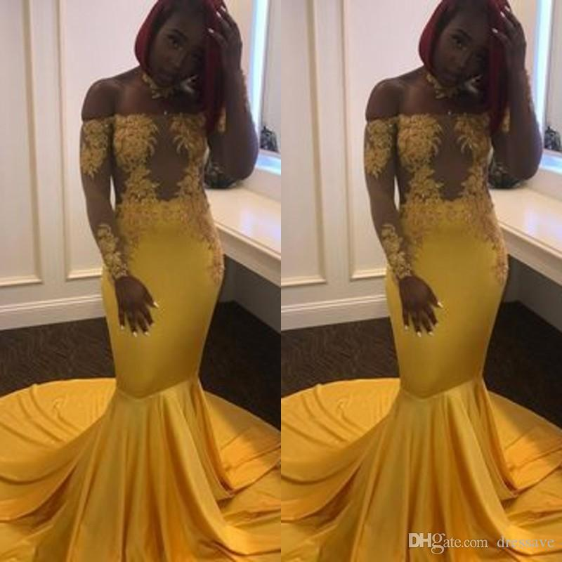 75646ca6 Yellow Gold Prom Dresses Evening Wear 2019 Long Sleeve Off The Shoulder  Illusion Lace Plus Size Robe De Soiree Evening Gowns Western Prom Dresses  Xscape ...
