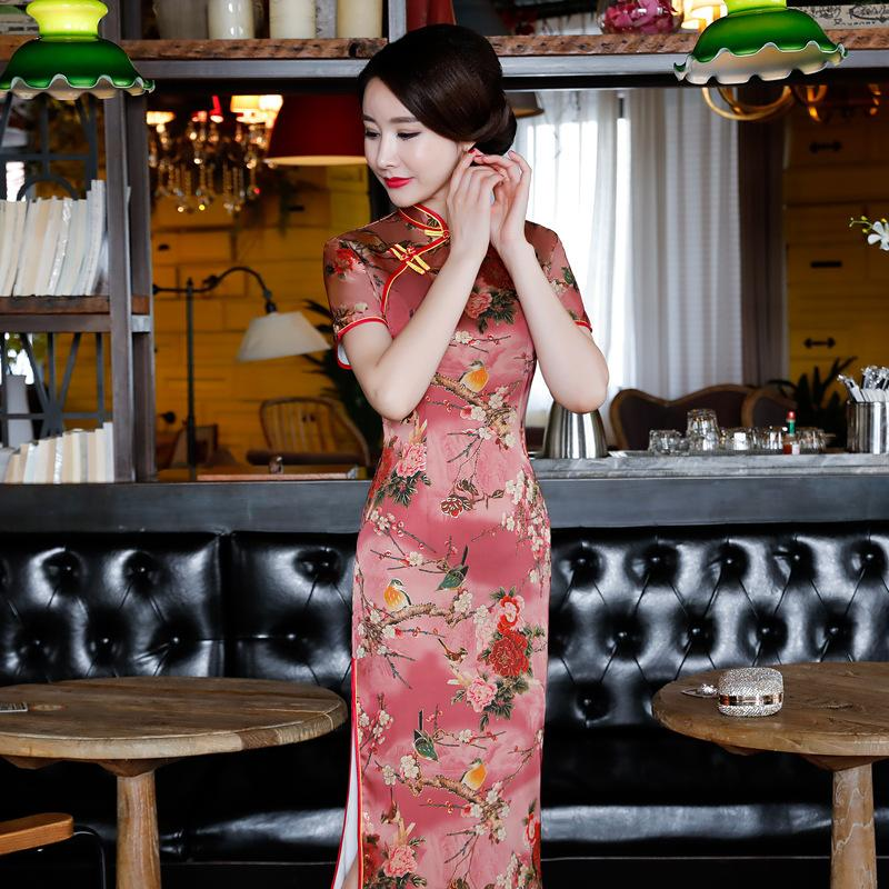 Sexy Long Cheongsam Traditional Chinese Style Short Sleeve Dress Womens Summer Rayon Qipao Slim Party Dresses Vestido Year-End Bargain Sale Women's Clothing