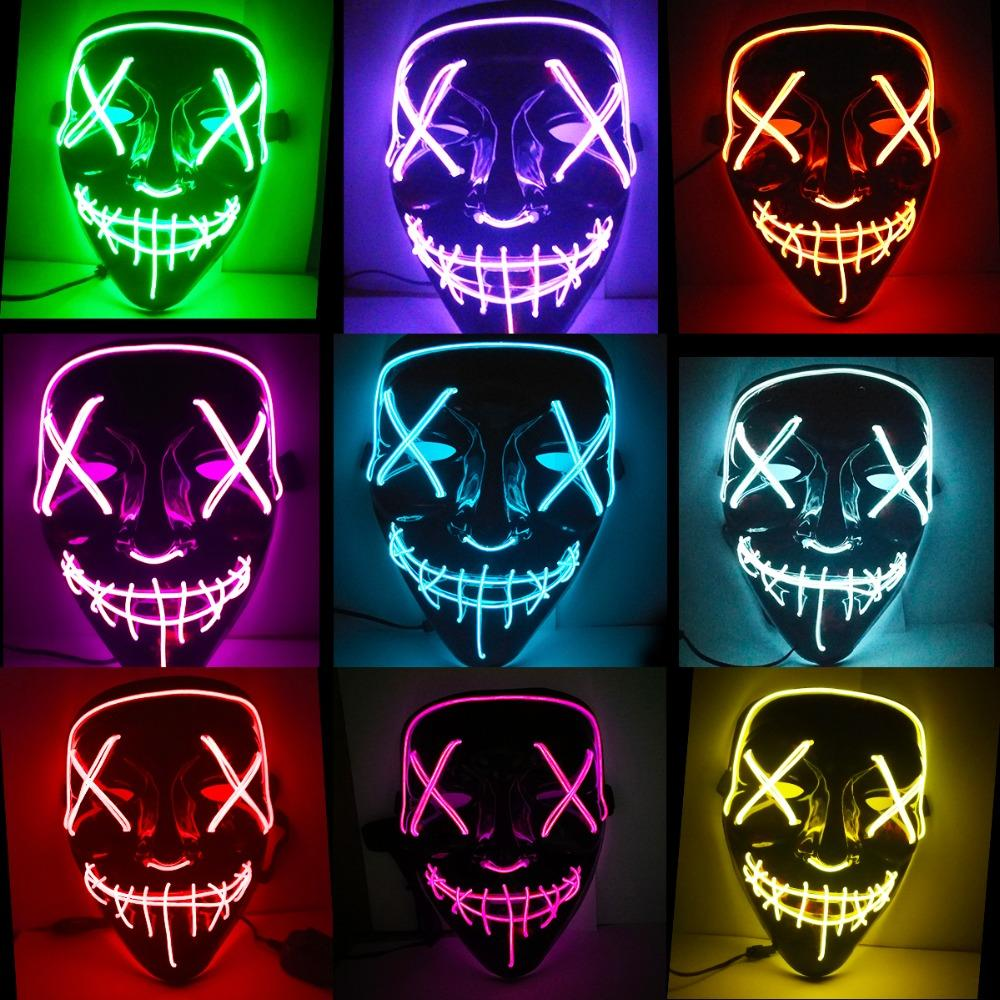 Halloween Mask Led Maske Light Up Party Masks Neon Maska Cosplay Mascara Horror Mascarillas Glow In Dark Masque V For Vendetta