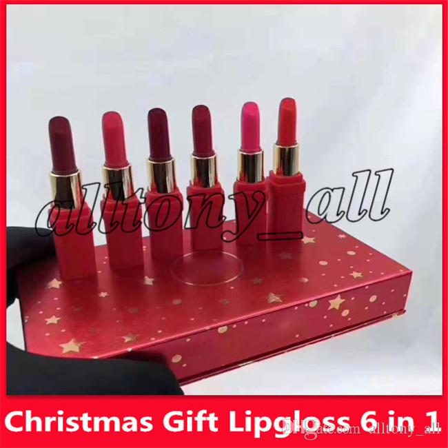 Hot Christmas Gifts 2019.2019 Hot Famous Lip Makeup Lipstick Christmas Gift Lipgloss 6 In 1 Matte Lipstick With High Quality
