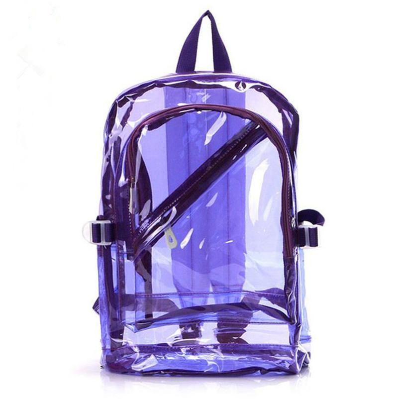 Wholesale- High Quality Men&Women Transparent Clear Plastic Backpack Waterproof Backpack For Teenager School Bags HBE54