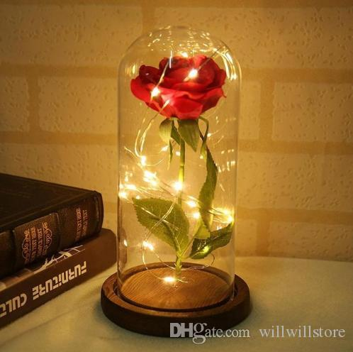 Led Beauty Rose And Beast Battery Powered Red Flower String Light