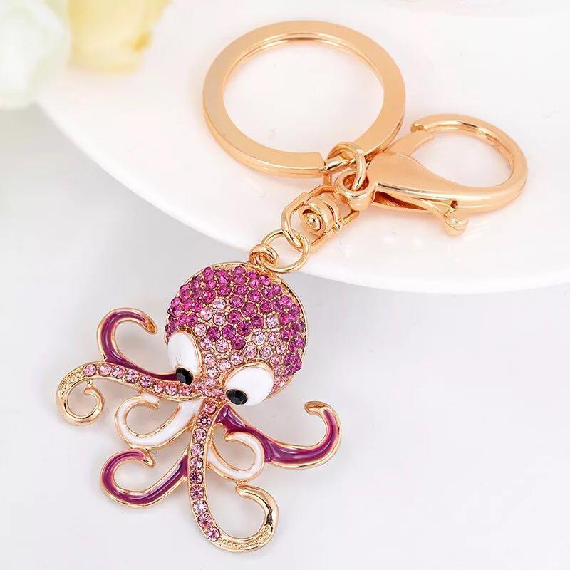 New Fashion Creative Cute Octopus Keychain Crystal Ocean Animal Car Key  Chains Female Bags Pendant Accessories Keyring Key Ring Keyring From  Qiuyeluo a60b65c5489a