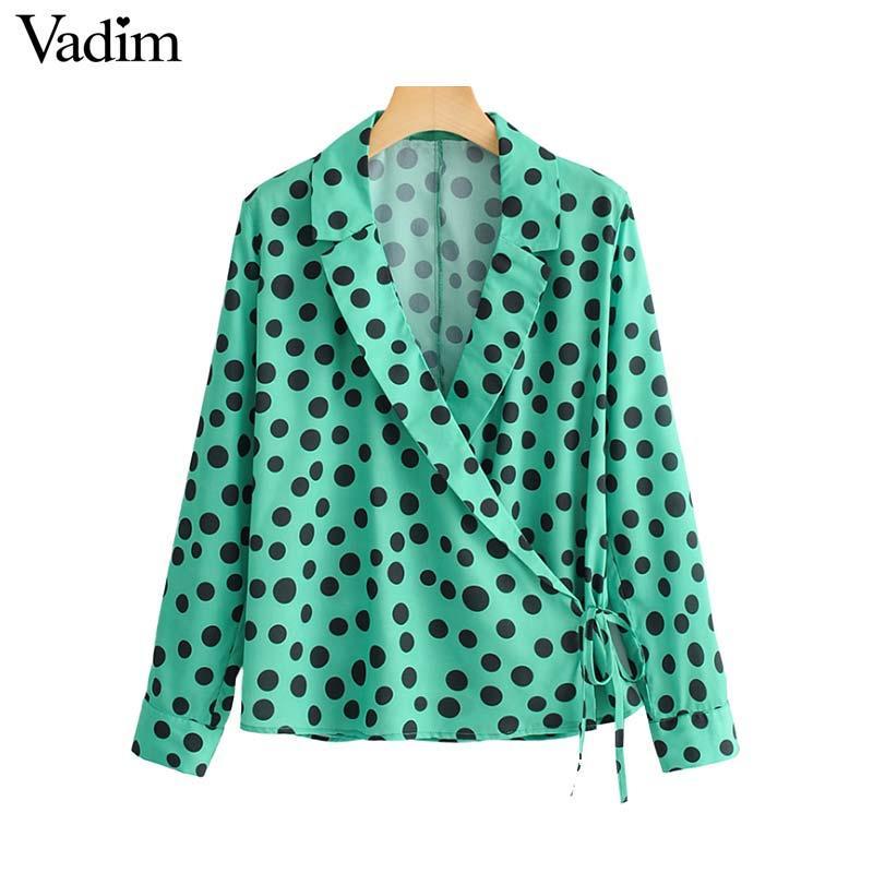 7edfbcab1 Vadim femmes chemisier à pois vert élégant chemise à manches longues noeud  papillon taille porter une chemise femme casual chic tops blusas LA891