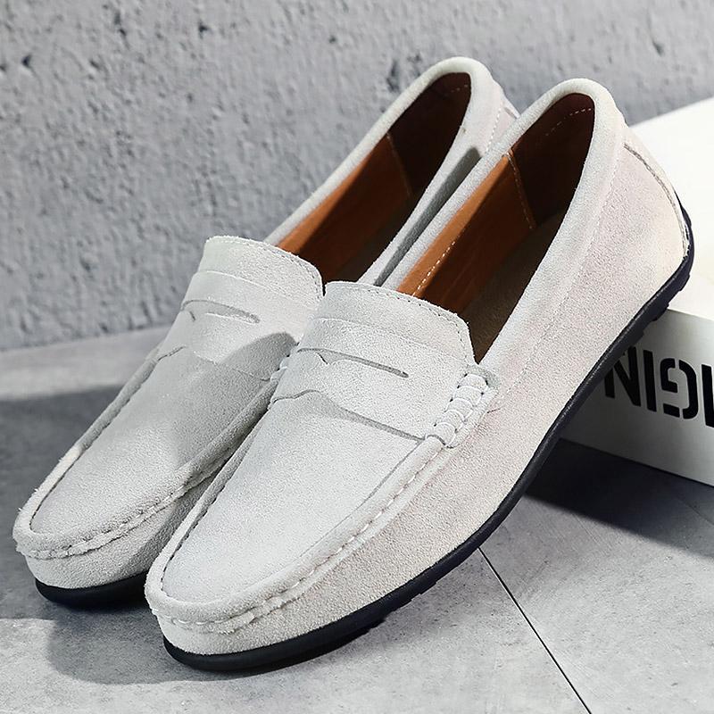 various colors 6792b 67043 Mocassini Uomo Sneakers Sneakers in pelle scamosciata di mucca Scarpe  bianche per uomo Plus Size 43-47 Massaggiatore Calzature Calzature Scarpe  da ...