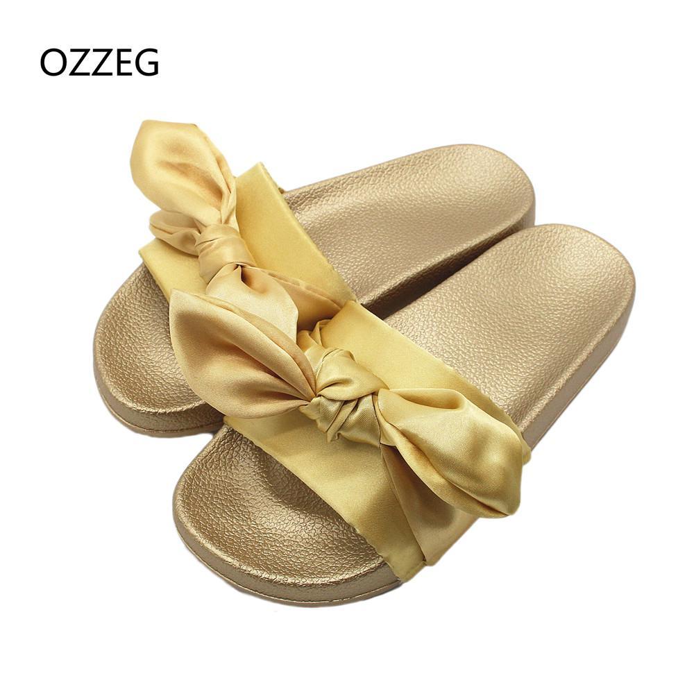 16e37e306 Fashion Silk Bow Slides Women Summer Beach Shoes Woman Slippers Flat ...