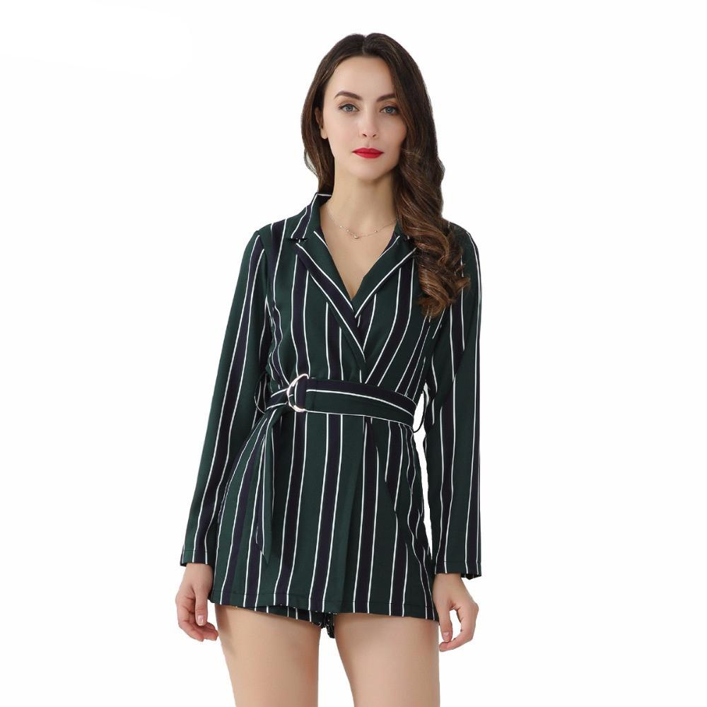 Women Chic Striped Playsuits Bow Tie Sashes Notched Collar Office Lady Wear Jumpsuits Slim Causal Female Brand Rompers