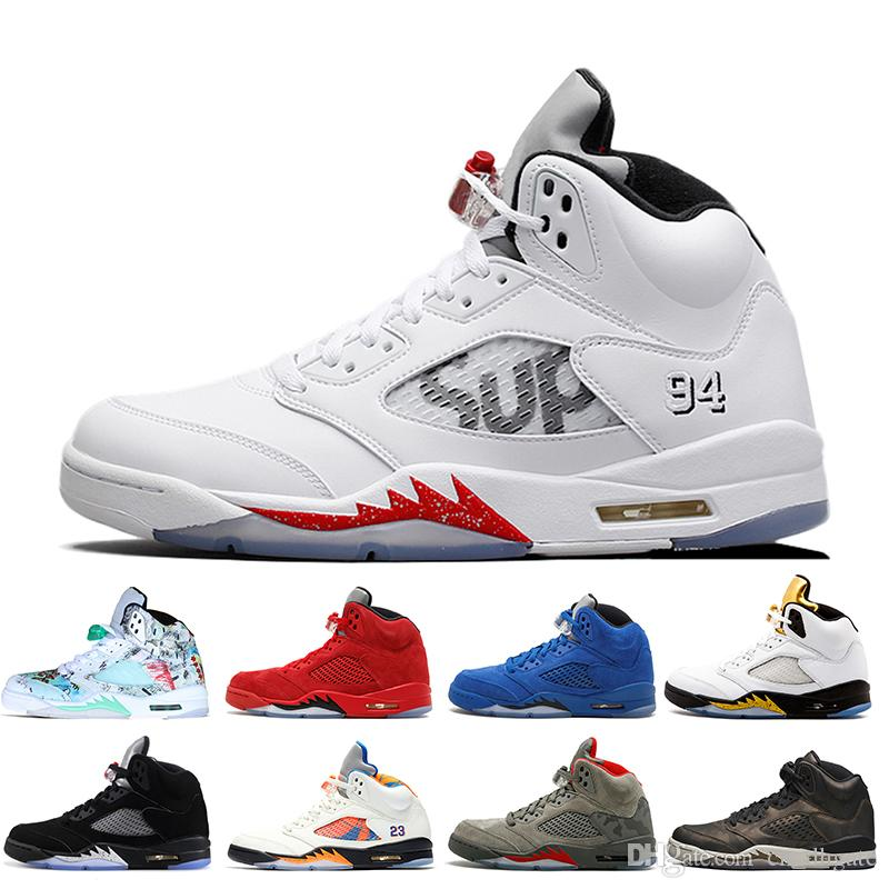 huge selection of 17324 6657c 2019 Fresh Prince 5 wings 5s PSG retros retro Black Basketball Shoes PARIS  Laney oreo Grape Space Jam mens sports Trainers Sneakers Size 13