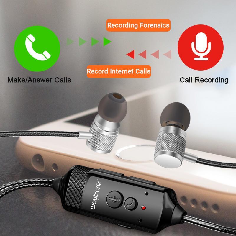 Cellphone Call Recorder Incoming Outgoing Call Recording Headphone for  Cellular WhatsApp Skype Messenger Calls